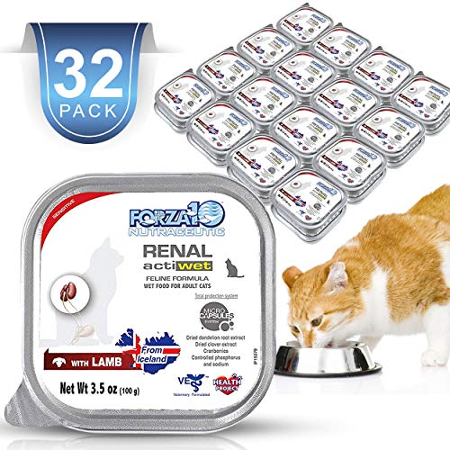 Forza10 Wet Cat Food Kidney RENAL ACTIWET with Lamb 3.5oz, Adult Cat Food Wet, Renal Support Canned Cat Food, 32 Pack Case