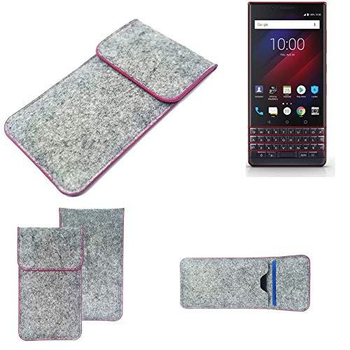 K-S-Trade Handy Schutz Hülle Für BlackBerry Key 2 LE Dual-SIM Schutzhülle Handyhülle Filztasche Pouch Tasche Hülle Sleeve Filzhülle Hellgrau Pinker Rand