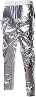 GUOCAI Mens Straight Leg Athletic Gilded Hipster Multi-pocket Trousers Pants