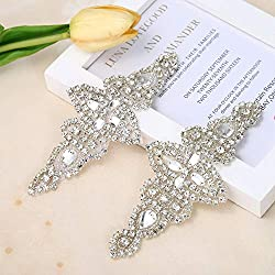 2 Pieces Bridal Belt Rhinestone Applique with Pearls