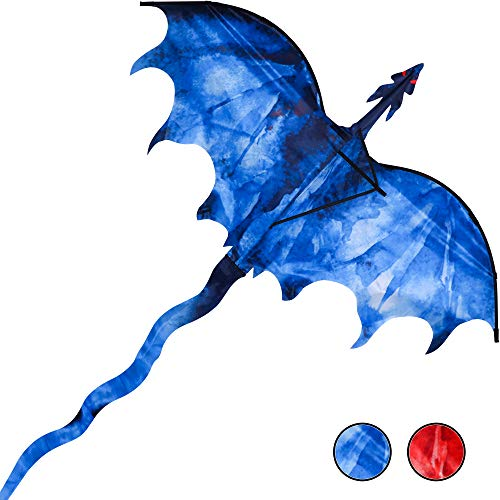 """JEKOSEN Ice Dragon 54"""" Huge Kite for Kids and Adults Easy to Fly Single Line String with 160"""" Tail for Beach Trip Park Family Outdoor Games and Activities"""