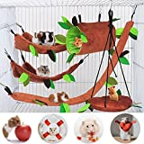 5 Pack Warm Hamster Cage Guinea Pig Cage Accessories, Ferret Cage Toys Hammock Hamster Bed Rat Hammock, Hamster Tunnels and Swing, for Squirrel Hamster Playing Sleeping Cage Nest Accessories