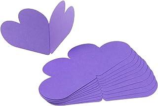 Amosfun グリーティングカード ハート型 メッセージカード 折り畳み ギフトカード バレンタインデー 結婚式 感謝祭 10枚セット(パープル)