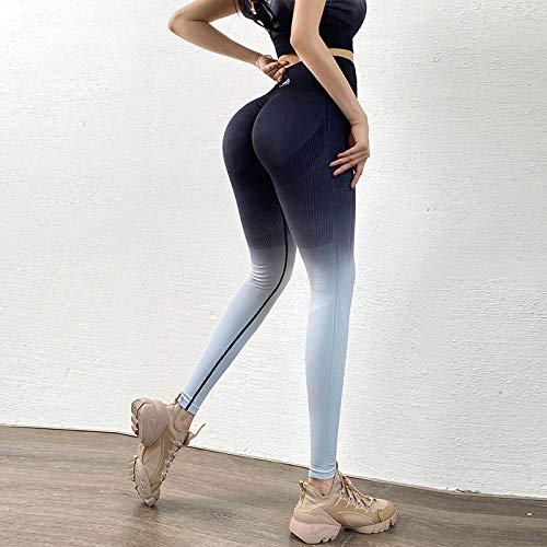 Leggins Deportivos Cintura Alta Mujer,Gradiente Azul Oscuro Fitness Mujer Medias Cintura Alta Gimnasio Yoga Pantalones Soft Squat Sport Leggings Adecuado Para Correr, Yoga, Fitness, Deportes Al A