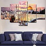Gaetooely 5 Stück Jerusalem Modulares Bild Moderne