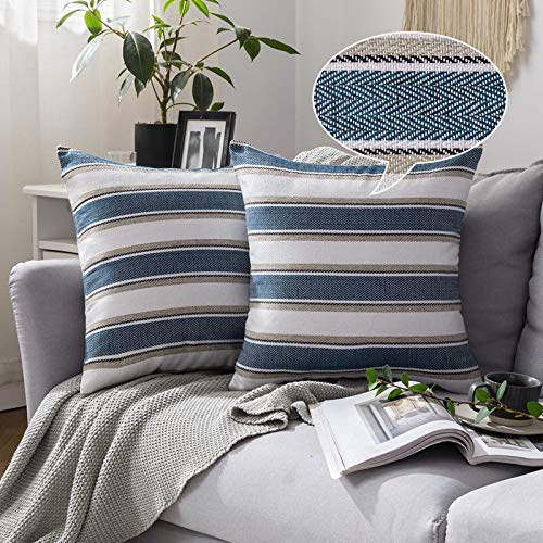 MIULEE Stripe Cushion Cover Faux Linen Square Throw Pillow Case Zigzag Soft Home for Sofa Bedroom Couch Living Room Decorative Pillowcase 45 x 45 cm 18 x 18 inch 2 Pieces Navy