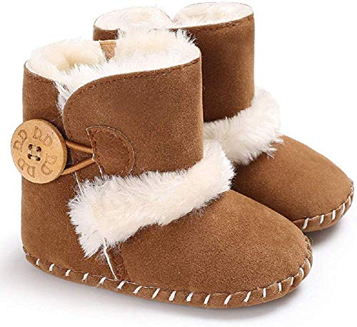 Baby Winter Buttons Snow Boots Warm Shoes Anti-Skid Plush Ankle Booties Newborn Infant Crib Boots(Brown 0-6 Months Infant)