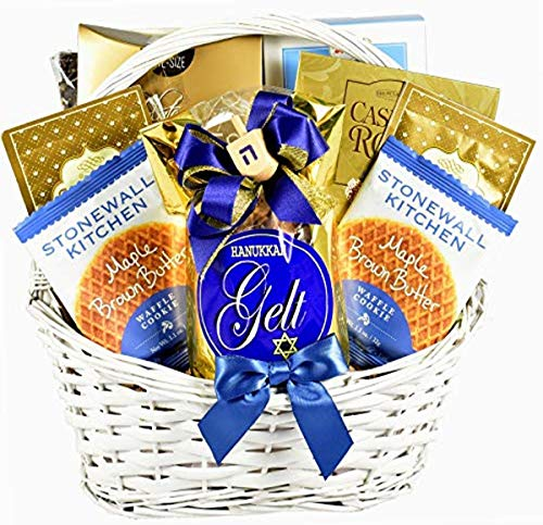 Eight Days of Hanukkah Gift Basket - Help Friends and Family Celebrate the Festival of Lights with Gelt, Dradle and More Festive Favorites