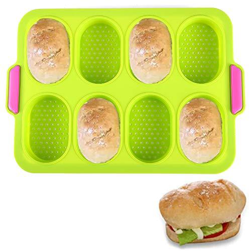 Silikon Baguette Backform, Brot Laib Pfanne Backform, Hamburger Toast Kochbäcker Brötchen Pfanne Sandwichform Antihaft-Küche Backwerkzeuge Zum Backen Frühstück,Grün