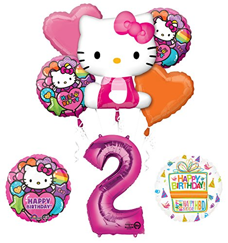 Hello Kitty 2nd Birthday Party Supplies and Balloon Bouquet Decorations