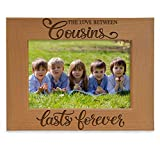 KATE POSH The Love Between Cousins Lasts Forever Engraved Natural Wood Picture Frame. (5x7-Horizontal)