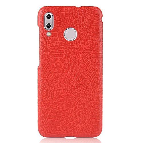 Para Asus ZenFone 5 ZE620KL / 5Z ZS620KL capa de couro sintético com estampa de crocodilo (Vermelho)