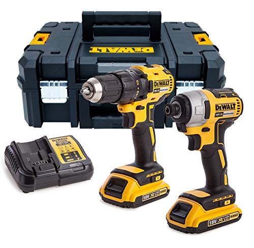 DEWALT DCK2059D2T-GB 18V 2 x 2Ah Brushless XR Li-Ion Combi & Impact Drill, 18 V, Multi-Colour