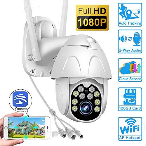 PTZ IP-Domekamera, WiFi-Überwachungskamera, 1080P HD-Außenkamera, IR/Nachtsicht / IP65 wasserdicht/Sportwarn- / Überwachungskamera, Yoosee, für Außen/Garage/Firma