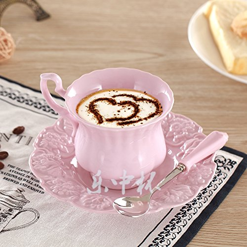 Elegant nam lepel kop schotel met Europa Crown Princess tea time kopje porseleinen keramische kopje thee koffie drinken 180 ml