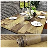 VEELIKE Brown Wood Wallpaper Peel and Stick Removable Waterproof Wood Panel Contact Paper Self Adhesive Wood Vinyl Film Decorative Wall Covering for Cabinets Furniture Countertops Bedroom 15.7''x354''