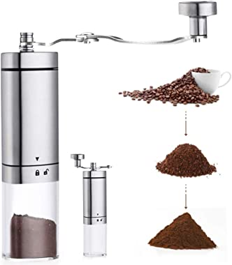 AVNICUD Manual Coffee Grinder, Hand Coffee Grinder with Adjustable Conical Ceramic Burr, Triangular and with Foldable Handle