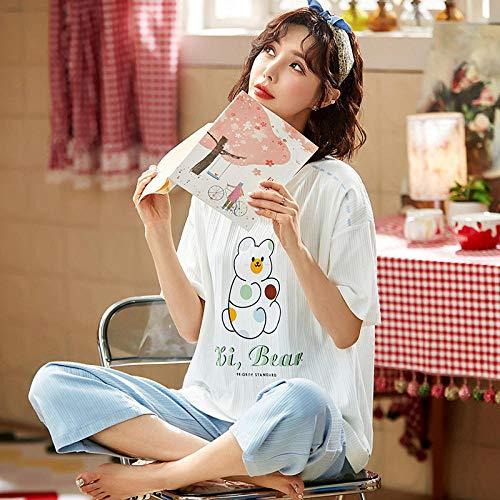 QQRR Camiseta y pantalón de algodónPijamas de algodón de Las señoras de verano-T88107_SGCamisón