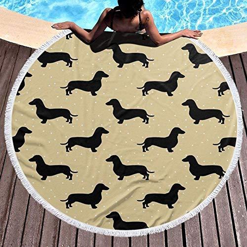 ZEDWENT Große runde Strandmatte,kurzes Haar Dackel Creme Muster Wurst Hund,geeignet für drinnen und draußen Picknick Strand Pool Yoga Matte Tischmatte 59 Zoll