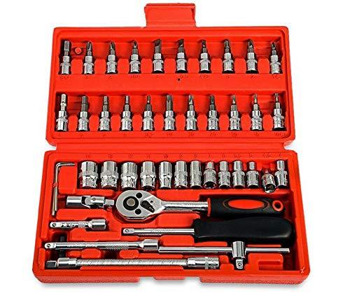 Juego de llaves de vaso de 46 piezas con llaves de carraca reversibles de 24 dientes con bielas alargadas y cortas y puntas de vaso multimodelo (negro)