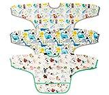 Karanice 3pcs Babylätzchen Langarm Wasserdicht abwaschbar für Kinder Alter 1-3 Jahre für Malen Play Essen Kunst Handwerk Malerei