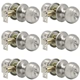 satin door knobs - Probrico Privacy Interior Door Knobs Bed and Bath Handles Keyless Sain Nickel Locksets, 6 Pack