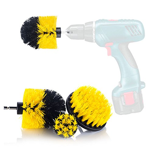 YIJINSHENG 3 Piece Medium and Stiff Brush with Drill Attachment Scrubbing Brushes for Cleaning Car Tires,Carpet, Kitchens,Bathrooms, Showers, Tubs, Boats Power Scrubber Kit (Yellow)