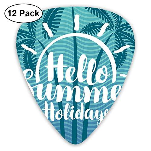 Gitaar Pick Hallo Zomer Vakantie 12 Stuk Gitaar Paddle Set Gemaakt Van Milieubescherming ABS Materiaal, Geschikt voor Gitaren, Quads, Etc