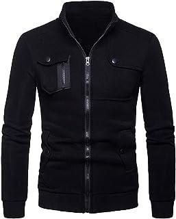 Sweatshirts Mannen Volledige Zip Plain Jassen Slim Fit Basic Stand Kraag Lange Mouw Sweatshirts Zonder Capuchon Casual Spo...