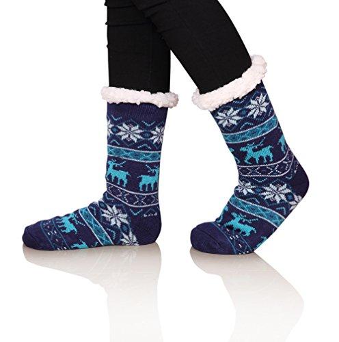 SDBING Women's Winter Super Soft Warm Cozy Fuzzy Snowflake Deer Fleece-lined With Grippers Slipper Socks (Blue)
