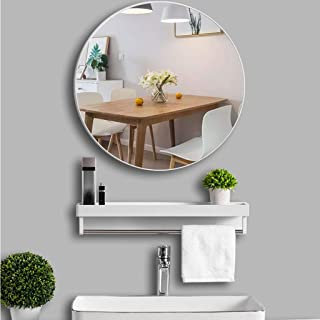 Round mirror, installation does not need to be punched, bathroom vanity mirror simple hanging mirror round vanity mirror w...