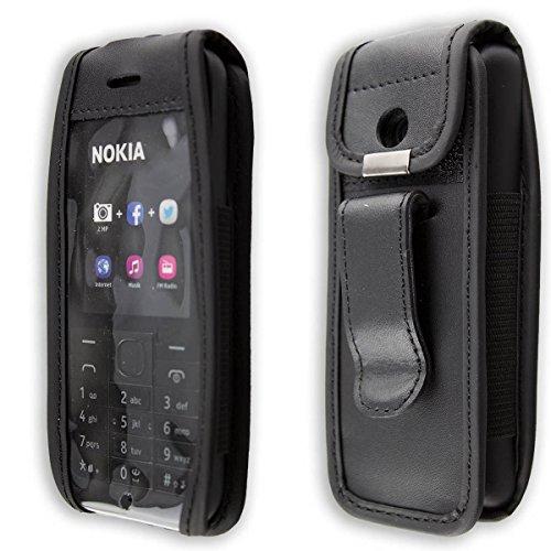 caseroxx Ledertasche mit Gürtelclip für Nokia 215 Dual SIM aus Echtleder, Handyhülle für Gürtel (mit Sichtfenster aus schmutzabweisender Klarsichtfolie in schwarz)
