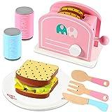 Lewo Toaster Holz Zubehör Kinderküche Spielzeug Pop Up Toaster für Kinder Kleinkind