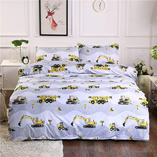 ZHJIUXING HO Bedding Set 3-Piece set Diggers and Trucks Printing Duvet Cover and Pillowcases halloween bedding, 135x200cm