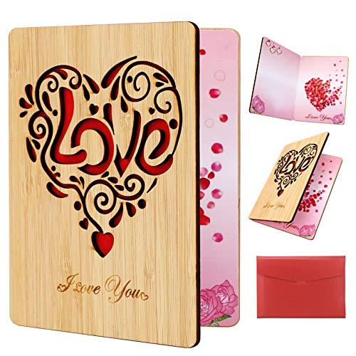 HOWAF Carte de voeux, en Bambou Fait à la Main Carte de Coeur avec enveloppe, Anniversaire Carte d'amour, Carte Mariage, Carte Saint Valentin, Cadeau pour Femme, Homme