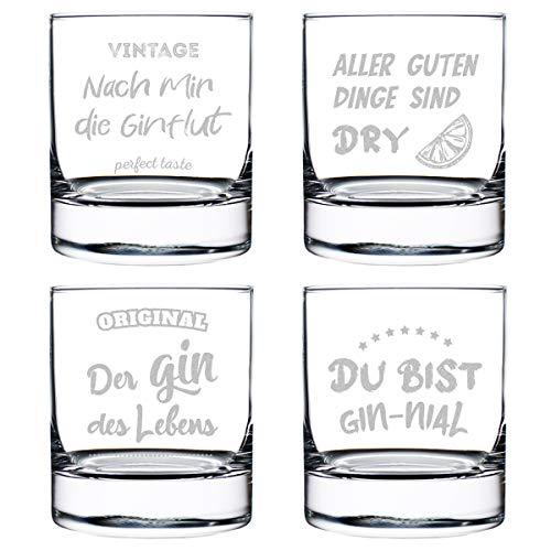 polar-effekt Gin Tonic Gläser 4X mit gravierte Sprüche - Cocktailglas - Genießen - Sommergetränk - 320 ml Volumen - Geschenk für Mann und Frau - Geburtstag, Weihnachten - Spruch Set 2