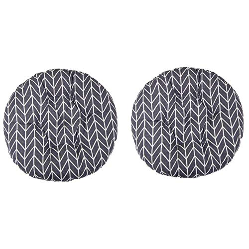 2xRound Padded Seat Cushion,Chair Seat Pads For Indoor Outdoor Garden Patio Kitchen & Office Chairs (A)
