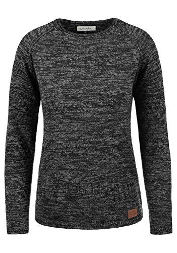 BlendShe Daniela Damen Strickpullover Feinstrick Pullover Mit Rundhals Und Melierung, Größe:S, Farbe:Black (70155)