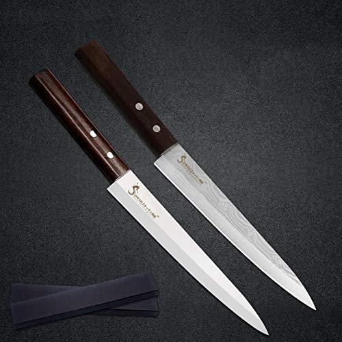 Cuchillo de sashimi de acero inoxidable de 8 pulgadas Cubierta libre Sharp Hoja de alto carbono Sushi Pescado carne Cuchillos de salmón de carne Herramientas de cocina (Color : B.2pcs with boxes)