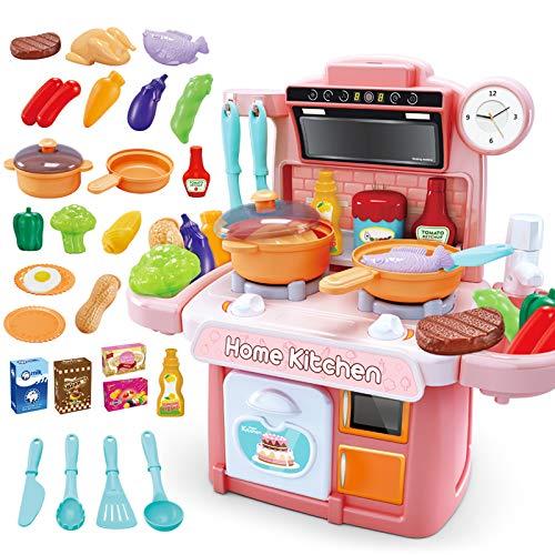 NIWWIN Niños Chef Cocina en Miniatura Cocina Juego de Juego de plástico 26 Accesorios con encimera Juguete Comida, Agua, luz y Sonido Juguete de simulación Divertido (Rosa)