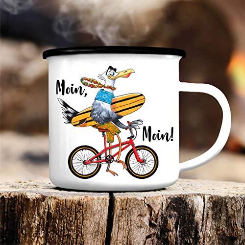 Wandtattoo Loft Emaille Becher Tasse Möwe mit Surfbrett und Fahrrad mit Spruch - Campingbecher Schwarz