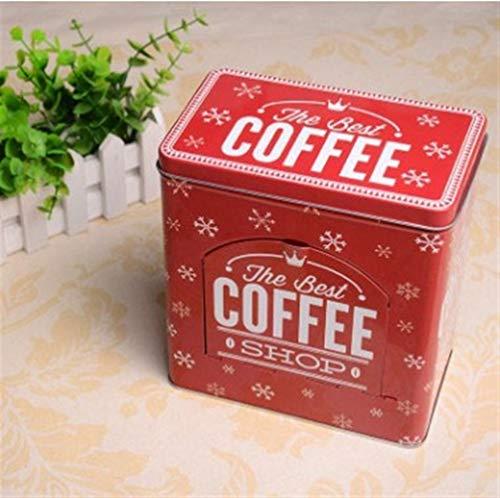 Tarros de almacenamiento para café, azúcar, té, chocolate, caja de almacenamiento rectangular de metal, caja de almacenamiento clásica para aperitivos, organizador para el hogar (color café rojo)