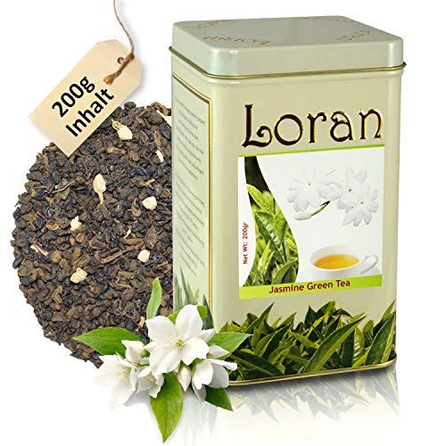 LORAN - Grüner Ceylon Tee mit Jasmin 200g, Premium Qualität, Ceylon Tee aus Sri Lanka, lose in Dose mit verschließbaren Beutel, Jasminblüten, Jasmin-Naturaroma,frisch, Geschenk für Frauen und Männer