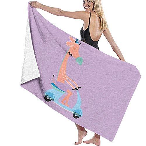 Strandhanddoek Leuke Giraffe Op Scooter Microvezel Badhanddoeken Snelle Droge Super Absorbens Handdoek voor Spa 80X130cm