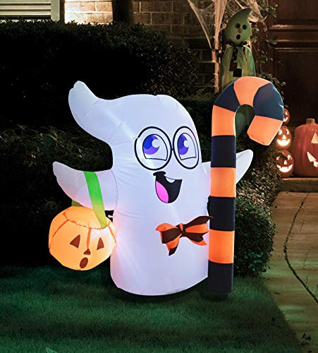Joiedomi 3.5 FT Tall Halloween Inflatable Cute Ghost Inflatable Halloween Candy Cane with Build-in LEDs Blow Up Inflatables for Halloween Party Indoor, Outdoor, Yard, Garden, Lawn Decorations