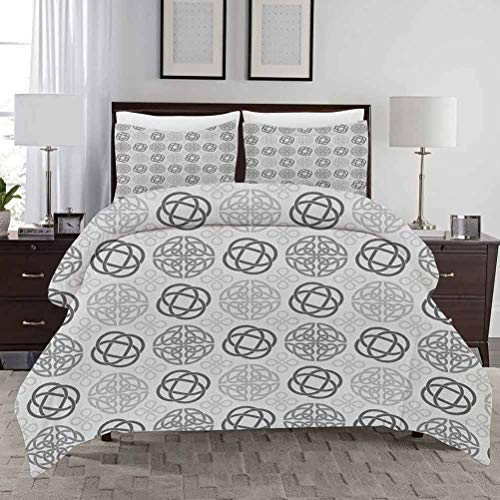 Celtic Duvet Cover Set Queen Size Traditional Ireland Round Cross Celtic Love Knots with Shamrock Motifs Art Pattern Soft Bedding Cover Decorative 3 Piece Bedding Set with 2 Pillow Shams Grey White