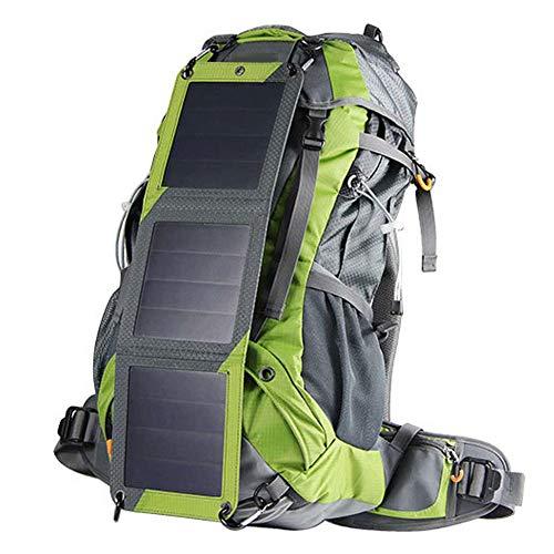 Wandelen Rugzak 65L, Met Solar Telefoon Oplader Rugzak Reizen Sport Trekking Rugzak Camping Fietsen Waterdicht Ultralight Militair Met Regen Cover Groen