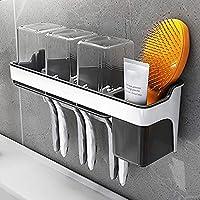 クリーニングツールブラシの歯ブラシホルダー、浴室トイレの家族のための壁に取り付けられた3つの透明なカップが付いている歯ブラシの保有者 (Color : Default)