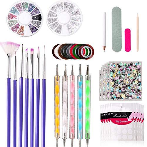 Kit de Diseño de Arte de Uña con 15 Pinceles de Arte de Uñas10 Rollos de Cintas Adhesivas Uñas 5 Lápiz de Punto 2 Cajas decoraciónlima de uñas Kit de herramientas para manicura de uñas