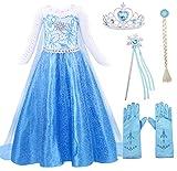 AmzBarley Vestito da Principessa Regina delle Nevi Abito Bambina Ragazza Costume da Carnevale Cosplay Festa Vestiti Compleanno Partito con Accessori